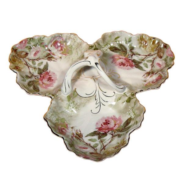 Πορσελάνινη Ξηροκαρπιέρα 3 Θέσεων Pink Roses
