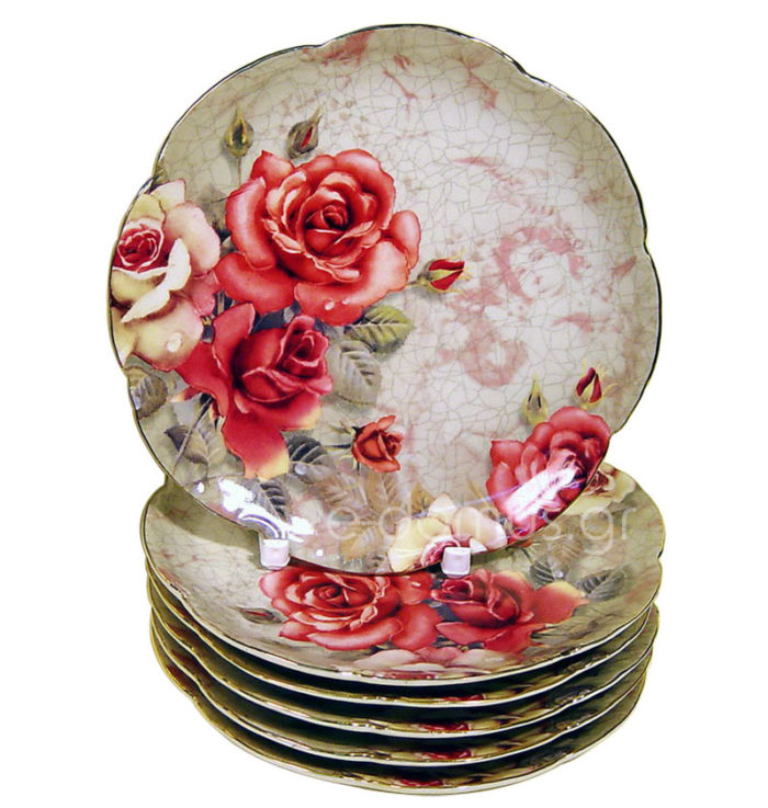 6 Πορσελάνινα Πιάτα Πάστας Red Roses