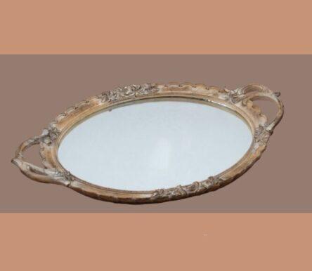 Δίσκος με καθρέφτη γάμου οβάλ σε καφέ χρώμα