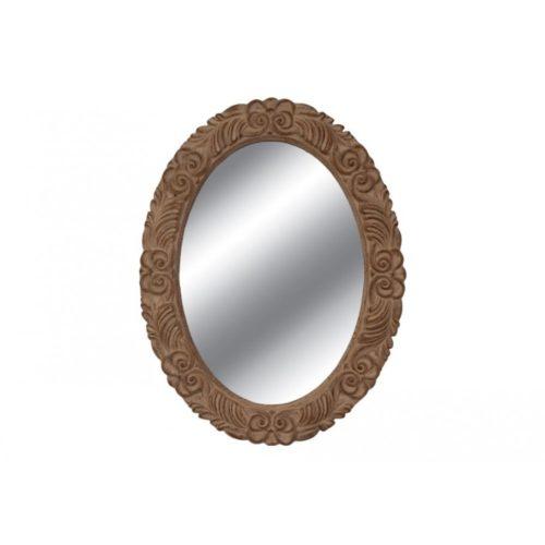 Καθρέφτης καφέ σκαλιστός οβάλ