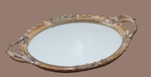 Δίσκος με καθρέφτη γάμου οβάλ καφέ χρώμα