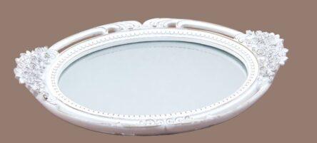 Δίσκος με καθρέφτη γάμου οβάλ λευκό χρώμα
