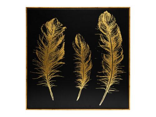 Πίνακας τοίχου χρυσά φτερά μαύρο φόντο
