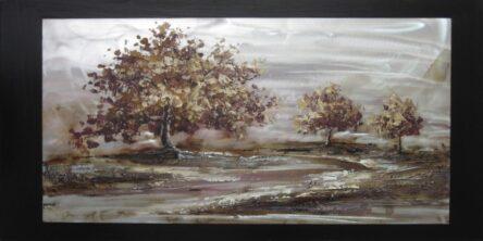 Πίνακας τοίχου τοπίο δέντρα μαύρο φόντο
