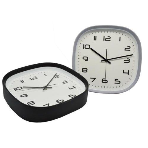Ρολόι τοίχου πλαστικό τετράγωνο μαύρο αθόρυβο