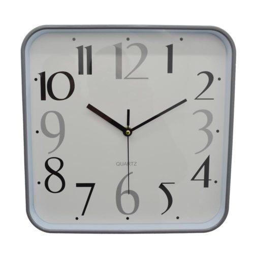 Ρολόι τοίχου πλαστικό γκρι τετράγωνο αθόρυβο