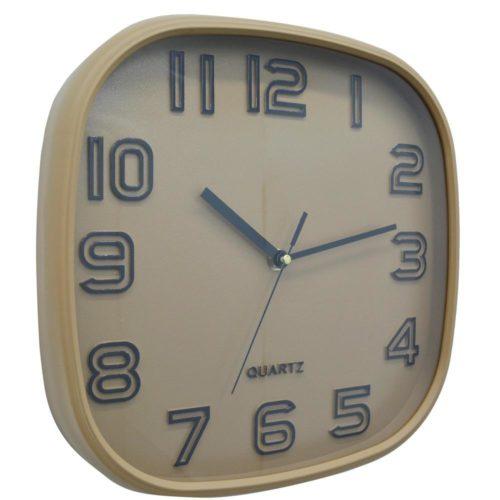 Ρολόι τοίχου πλαστικό τετράγωνο μπεζ