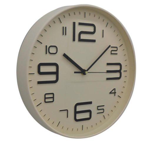 Ρολόι τοίχου πλαστικό μπεζ 28 εκατοστά