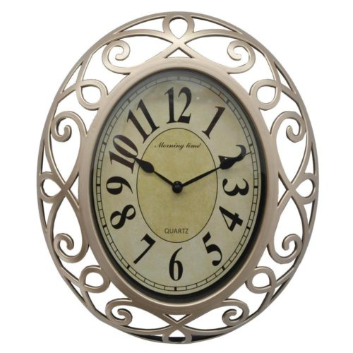 Ρολόι τοίχου πλαστικό χρυσό οβάλ αθόρυβο