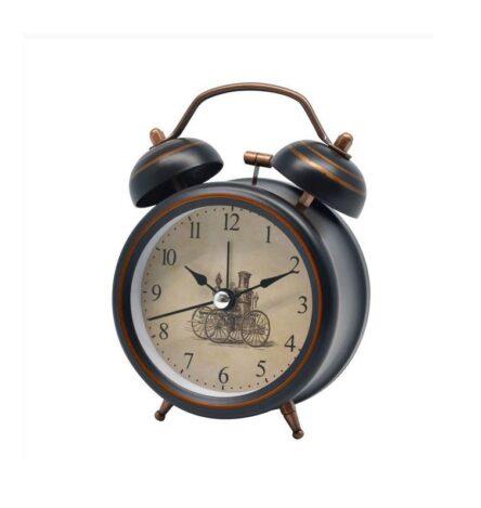 Ρολόι ξυπνητήρι μεταλλικό μαύρο - χρυσό