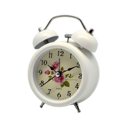 Ρολόι ξυπνητήρι μεταλλικό λευκό - χρυσό αντικέ