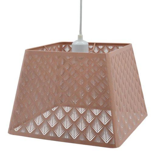 Φωτιστικό κρεμαστό μεταλλικό σομόν τετράγωνο