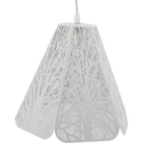 Φωτιστικό κρεμαστό μεταλλικό λευκό εξάγωνο
