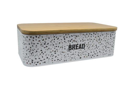 Ψωμιέρα μεταλλική και μπαμπού καπάκι μεγάλη