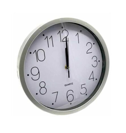 Ρολόι τοίχου πλαστικό γκρι αθόρυβο