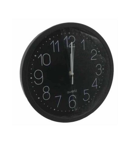 Ρολόι τοίχου πλαστικό στρογγυλό μαύρο 30 εκατοστά