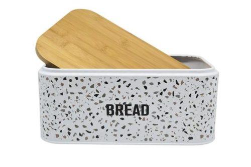 Ψωμιέρα μεταλλική με καπάκι μπαμπού